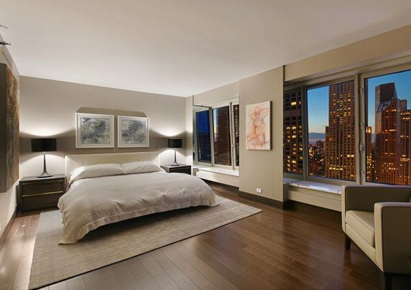 Modern bedroom with sustainably designed bedding and furniture.