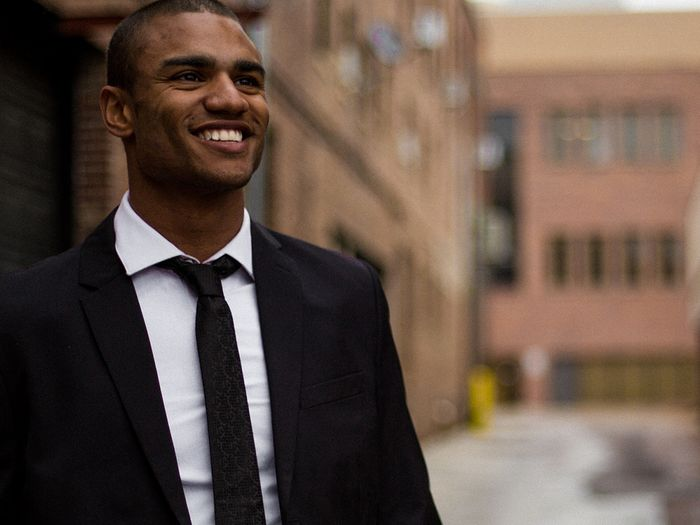 Successful businessman smiling