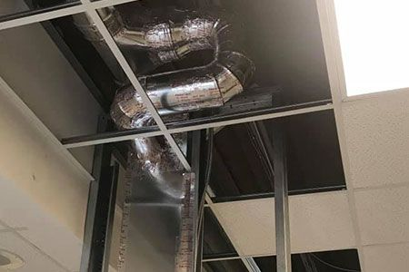 Looking up at commercial duct work