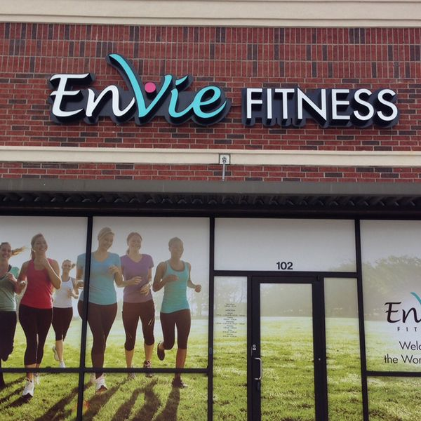 Window vinyl sign covering storefront.