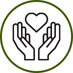 Icon of open hands holding a heart