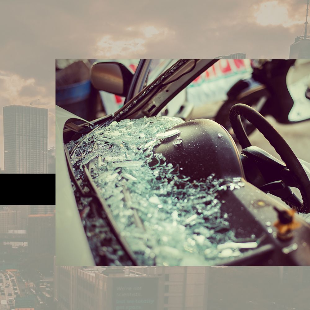 car accident, broken windshield