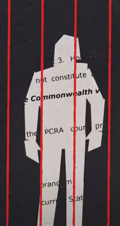 Illustration of wrongful conviction behind bars