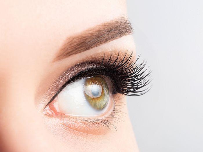 Close-up image of a woman's eye, eyelashes, and eyebrow.