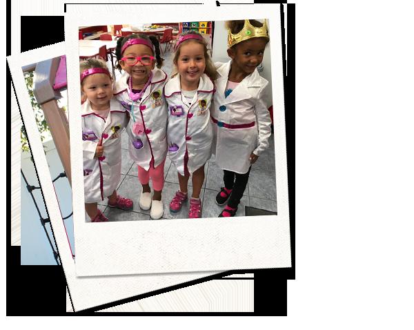 polaroid of children in costumes