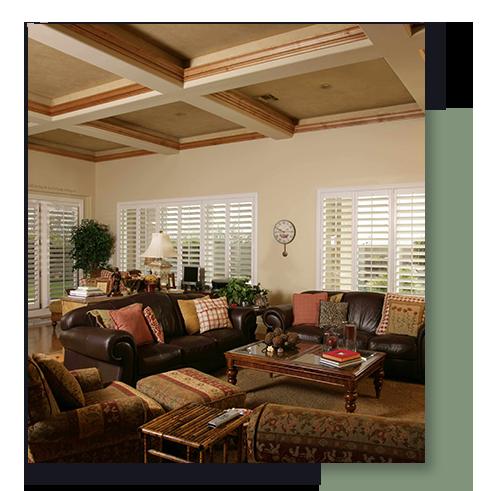 Image of sunburst shutters in a family room.