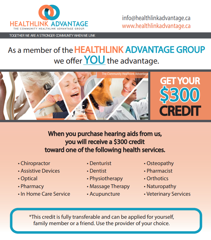 Advertisement for Healthline Advantage credit from Hometown Hearing Centre.