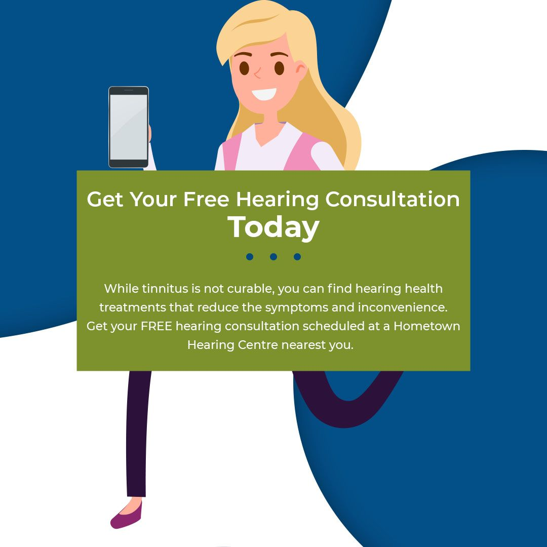 Slide from Hometown Hearing Centre offering free hearing consultations to check for Tinnitus.
