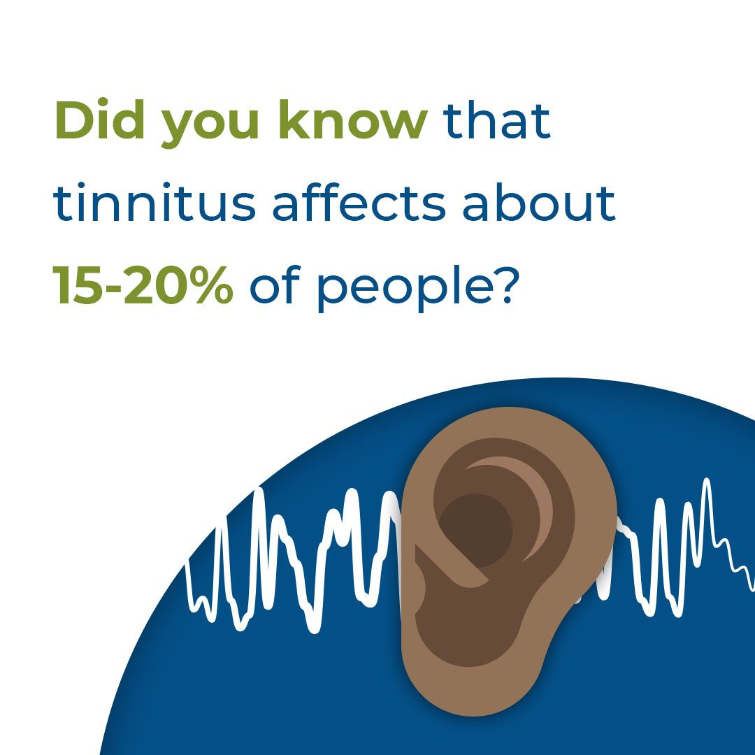 Slide saying tinnitus affects 15 to 20 percent of people