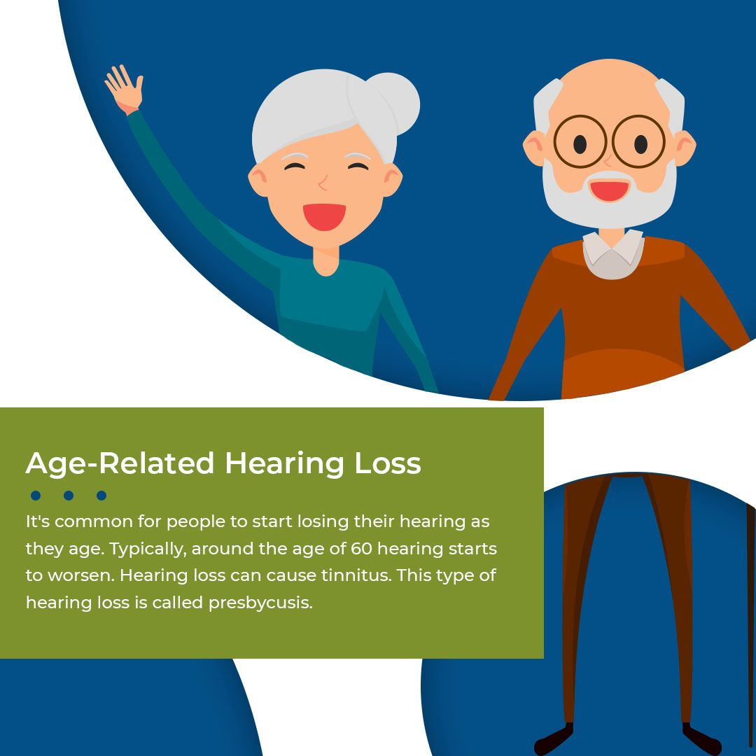 Slide stating age-related hearing loss can cause tinnitus