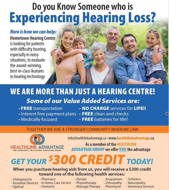 Healthline Ad from Hometown Hearing Centre in Ontario. Do you know someone experiencing hearing loss?