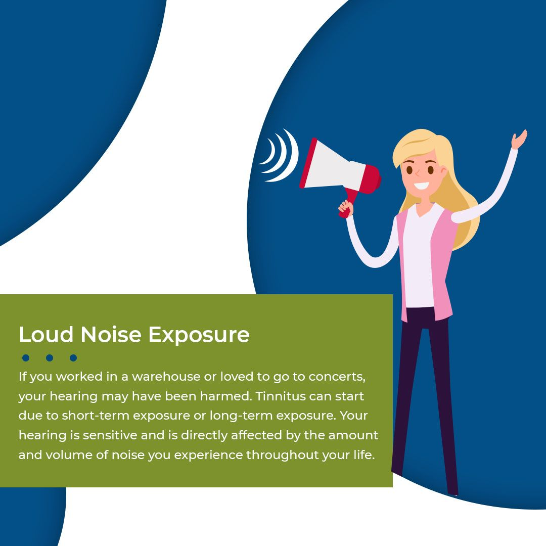 Slide saying that loud noise exposure can cause tinnitus.