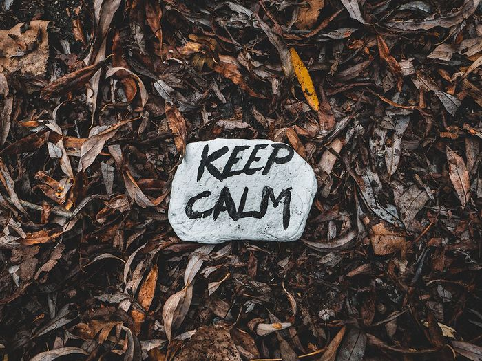 image of a rock with 'keep calm' written on it