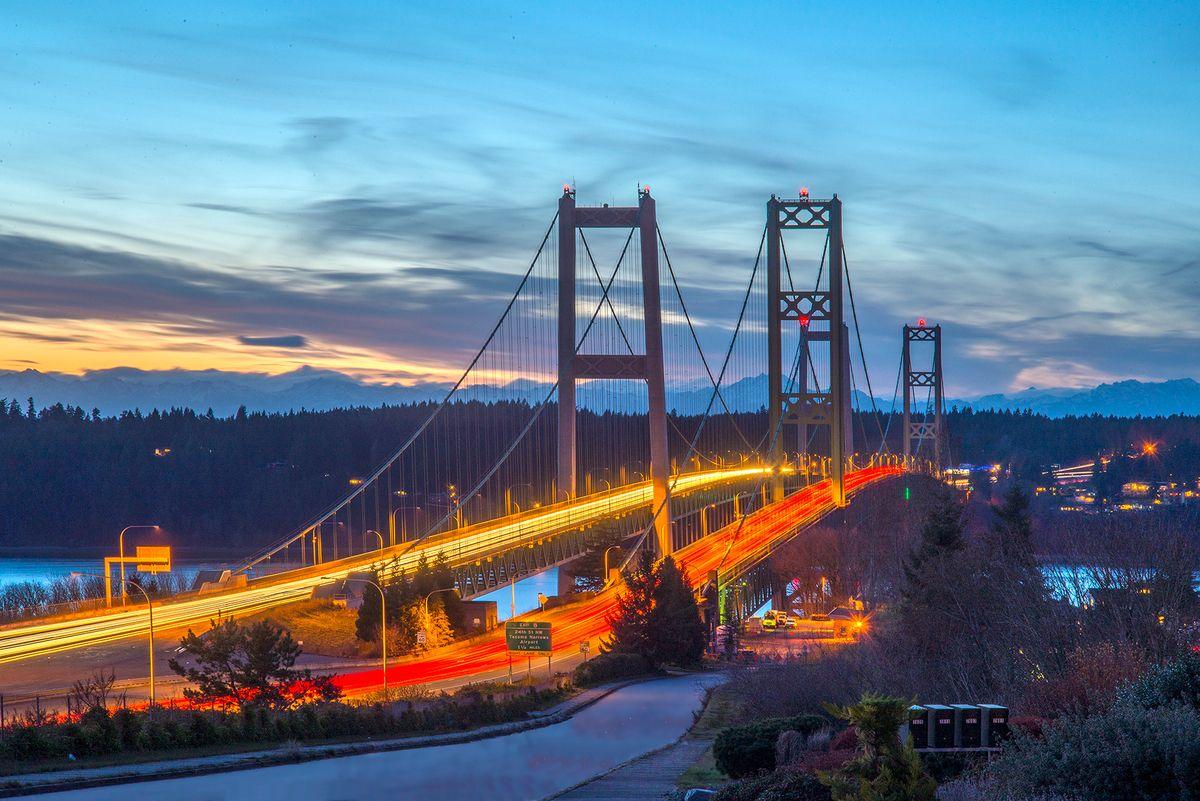 Tacoma Narrows Bridge at Twilight