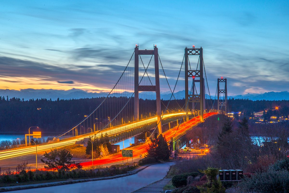 Tacoma Narrows Bridge at twilight