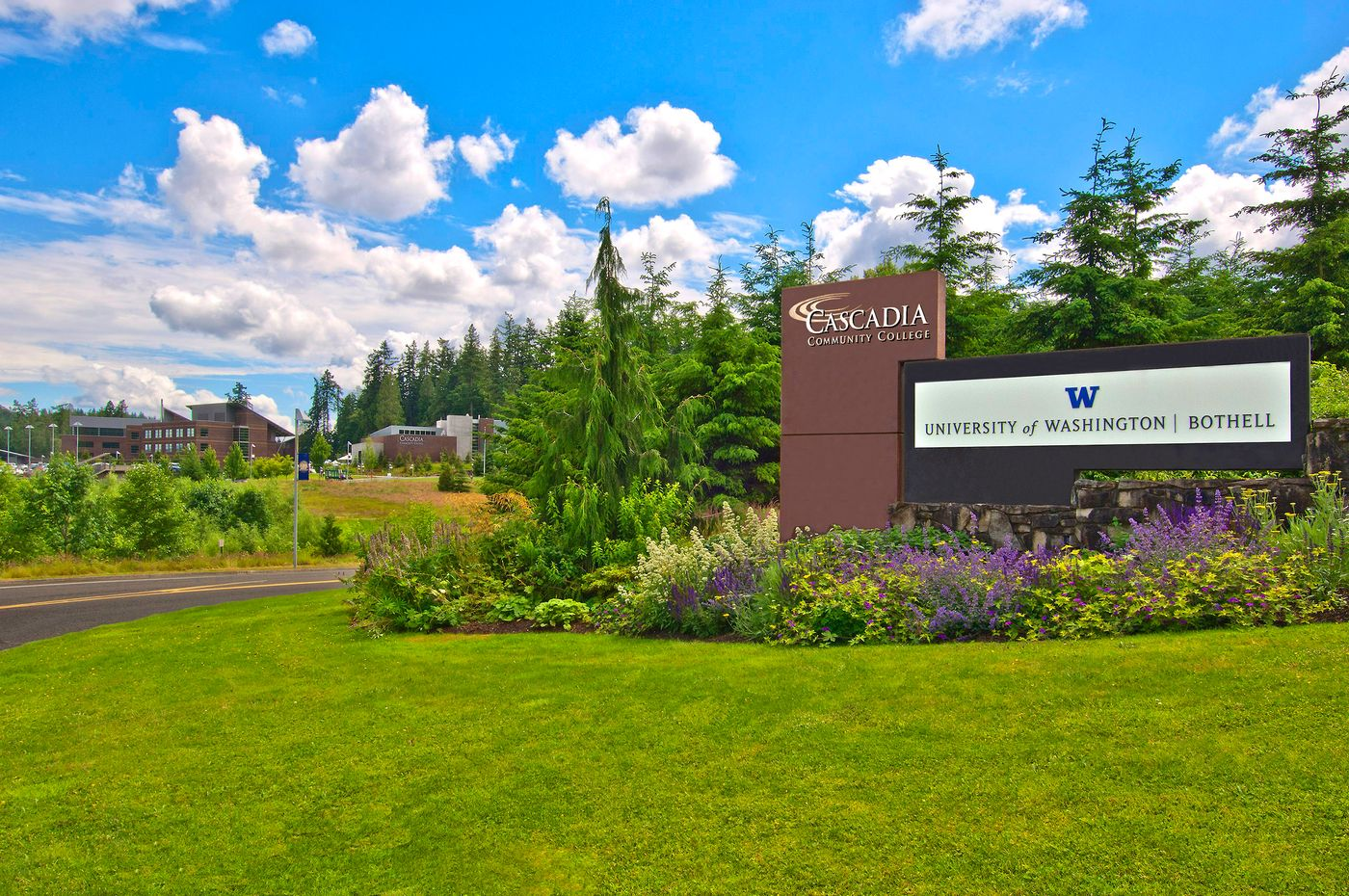 The nortnern entrance to the Cascadia/UW campus in Bothell , WA.