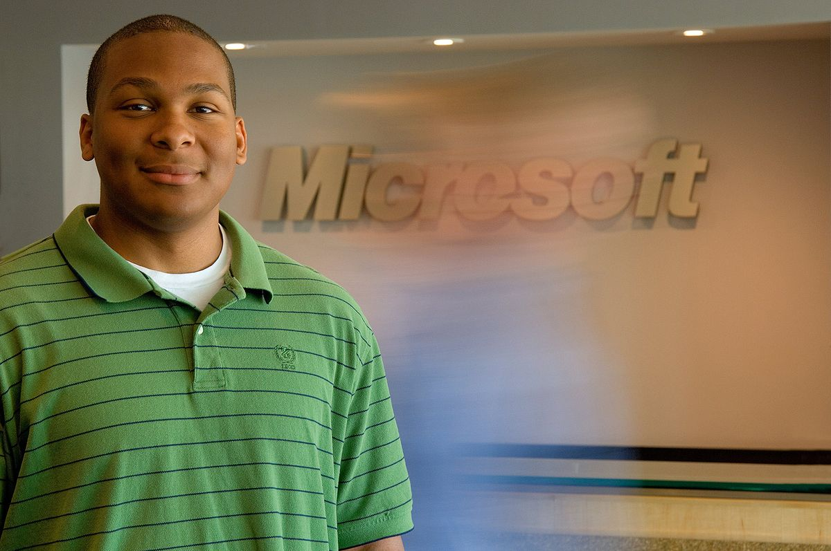 A portrait of an intern from the University of Texas at Austin working with Microsoft in Redmond, WA.