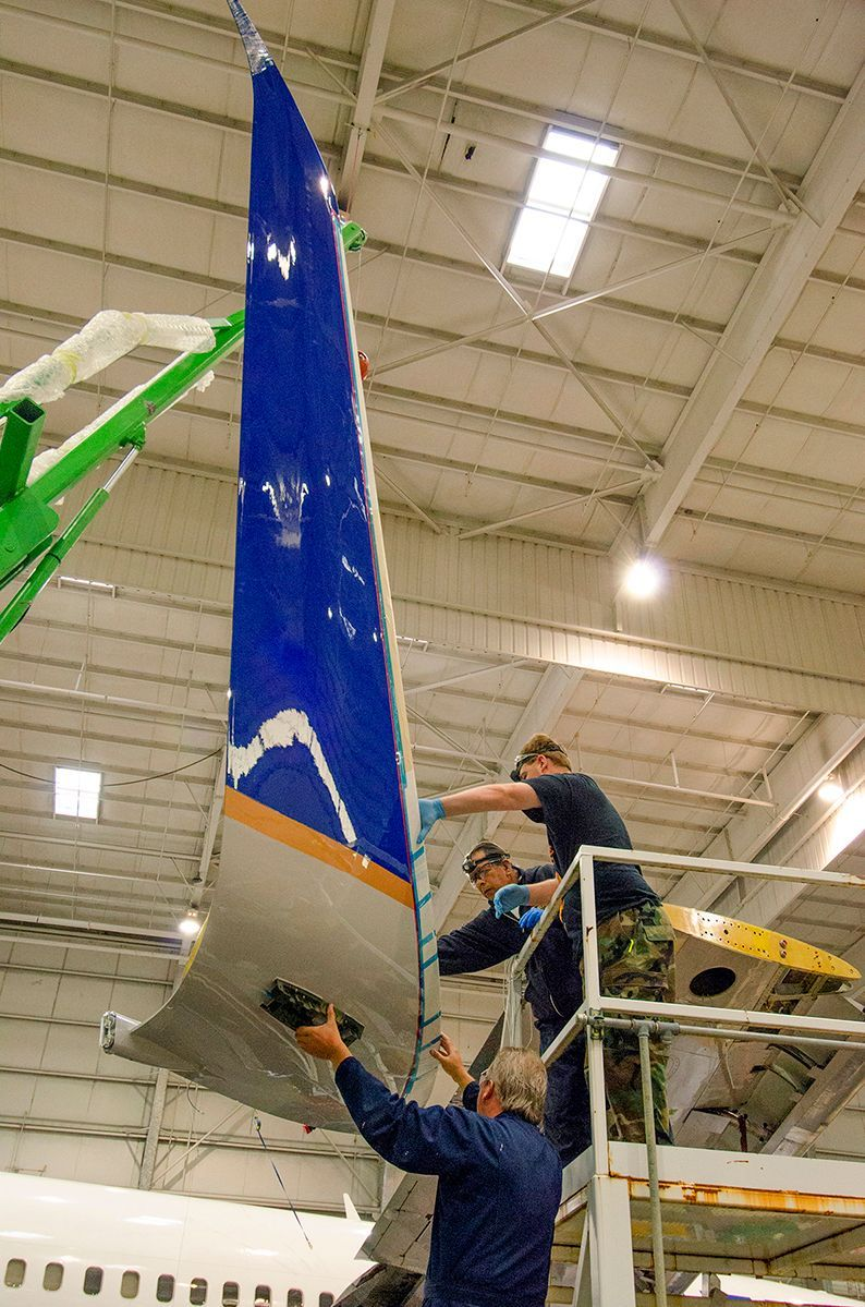 Winglet lifted into position for installation on the Boeing 737