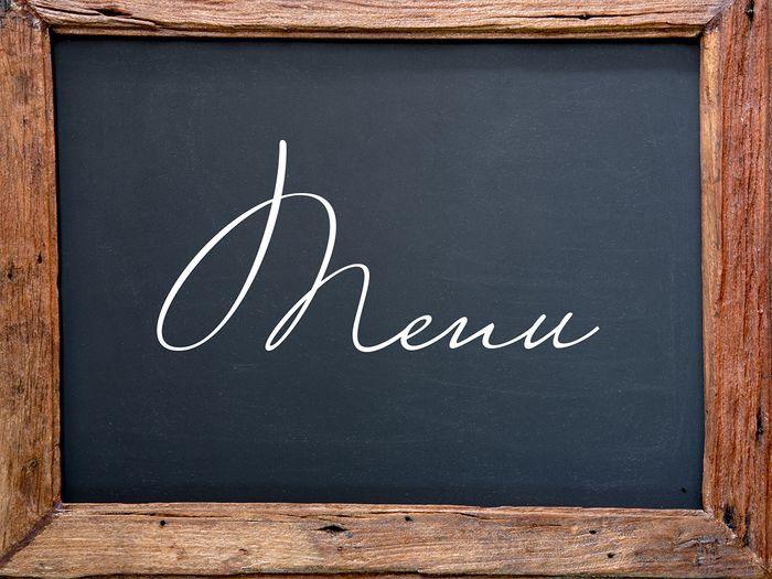 Close ups of a menu sign