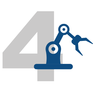 number 4 with machine icon