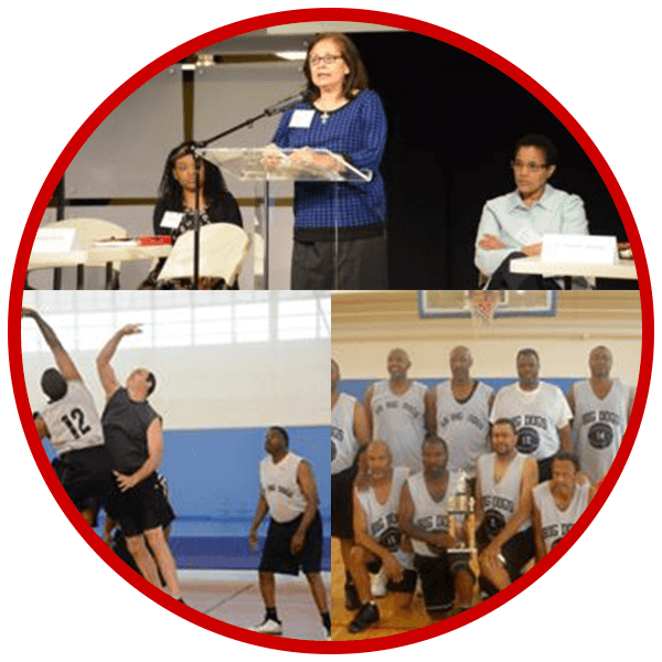 Collage of presentation and sports