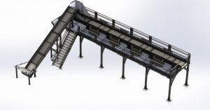 Image of a metal conveyor system