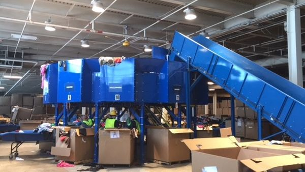 image of a cardboard recycling center