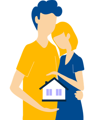 Graphic of a couple and a house