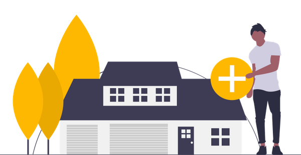 Graphic of a house and a plus sign