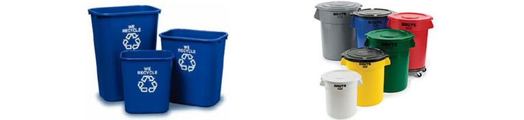Image of various sizes of trash cans and recycle bins