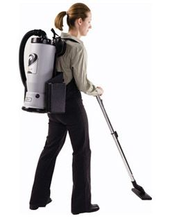 Cleaning technician with a backpack vacuum