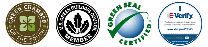 Set of green cleaning certification badges awarded to EnviroClean