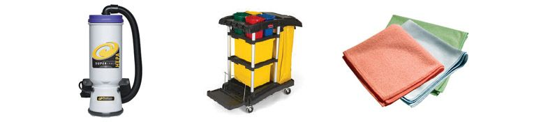A variety of cleaning equipment and supplies