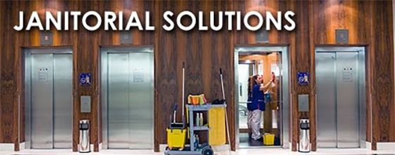 Janitorial solutions banner featuring a technician cleaning the inside of an elevator