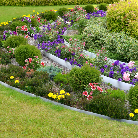 Landscaping with flowers and bushes.