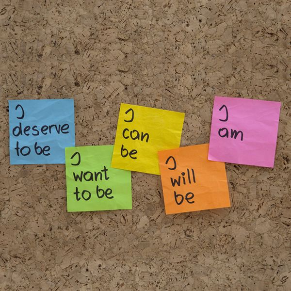 image of post-it notes on a bulletin board with positive affirmations