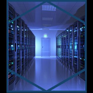 Modern interior of server room in datacenter.