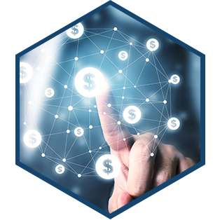 Businessman pointing to dollar currency icon.