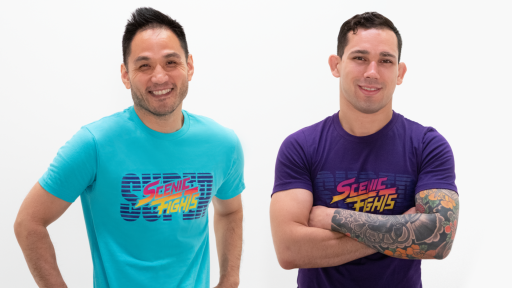 Chad and Logan wearing Scenic Fights t-shirts