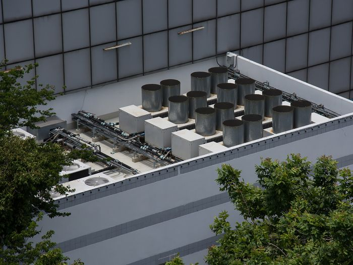 Image of a commercial HVAC system on a building roof.