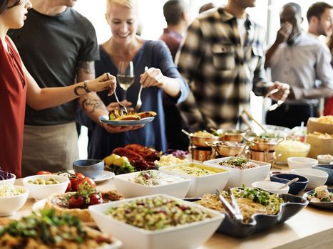 Buffet style catering at an event.