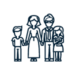 Icon showing a family