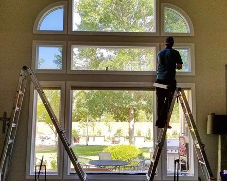 residential window tint in progress