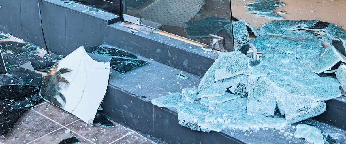 broken glass from a store front