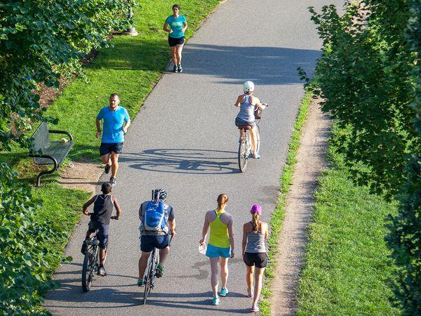 People running, walking, and biking along a path.