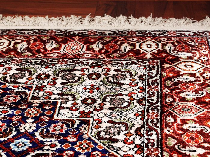 image of a colorful oriental rug close up that has had the color restored