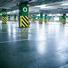 Parking garage with concrete floor