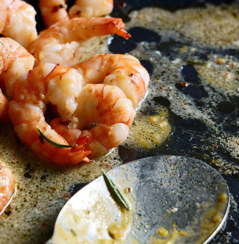 Shrimp sautéing in butter