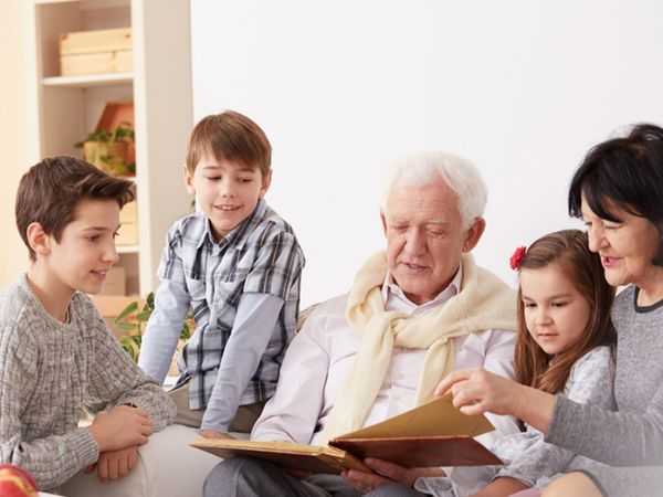 Kids with their grandparents.
