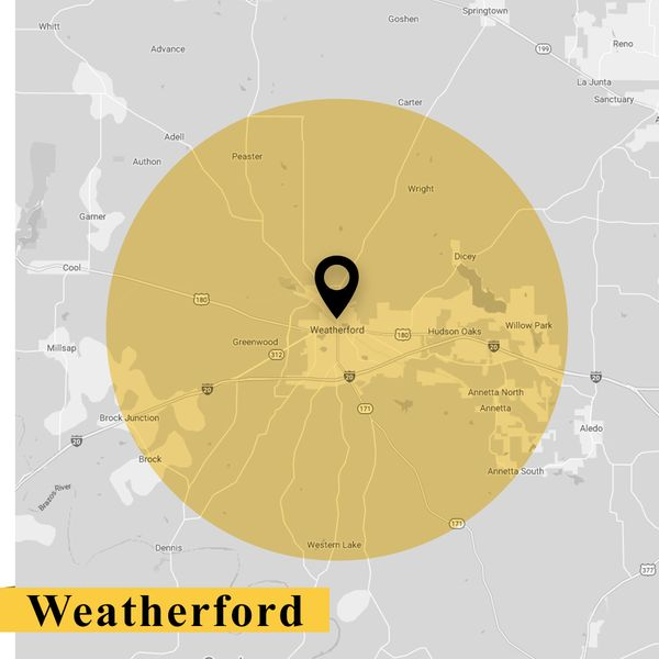 service area map of Weatherford Texas